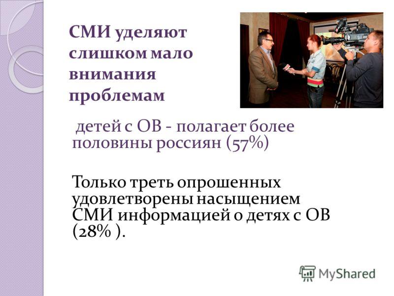 СМИ уделяют слишком мало внимания проблемам детей с ОВ - полагает более половины россиян (57%) Только треть опрошенных удовлетворены насыщением СМИ информацией о детях с ОВ (28% ).
