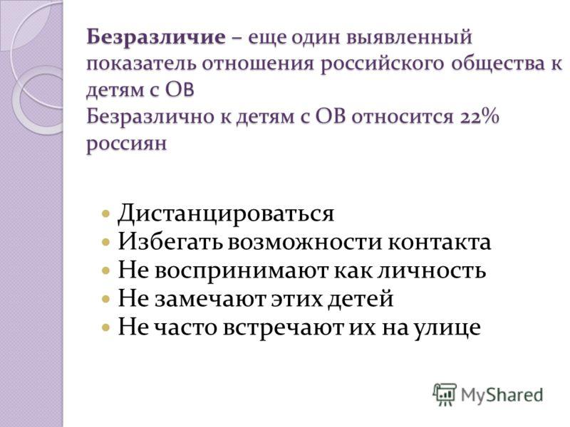 Безразличие – еще один выявленный показатель отношения российского общества к детям с ОВ Безразлично к детям с ОВ относится 22% россиян Дистанцироваться Избегать возможности контакта Не воспринимают как личность Не замечают этих детей Не часто встреч
