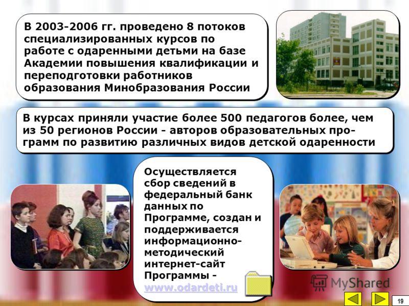 В 2003-2006 гг. проведено 8 потоков специализированных курсов по работе с одаренными детьми на базе Академии повышения квалификации и переподготовки работников образования Минобразования России В курсах приняли участие более 500 педагогов более, чем