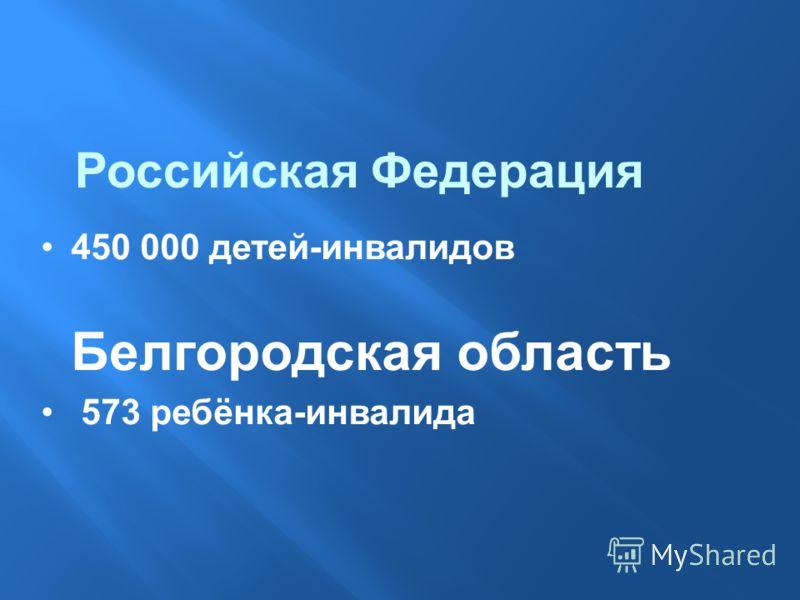 450 000 детей-инвалидов Белгородская область 573 ребёнка-инвалида Российская Федерация
