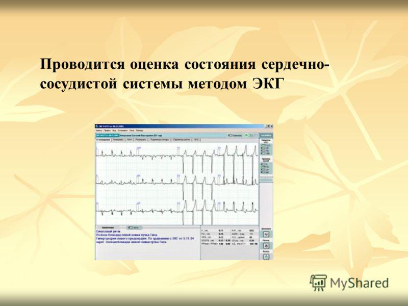 Проводится оценка состояния сердечно- сосудистой системы методом ЭКГ