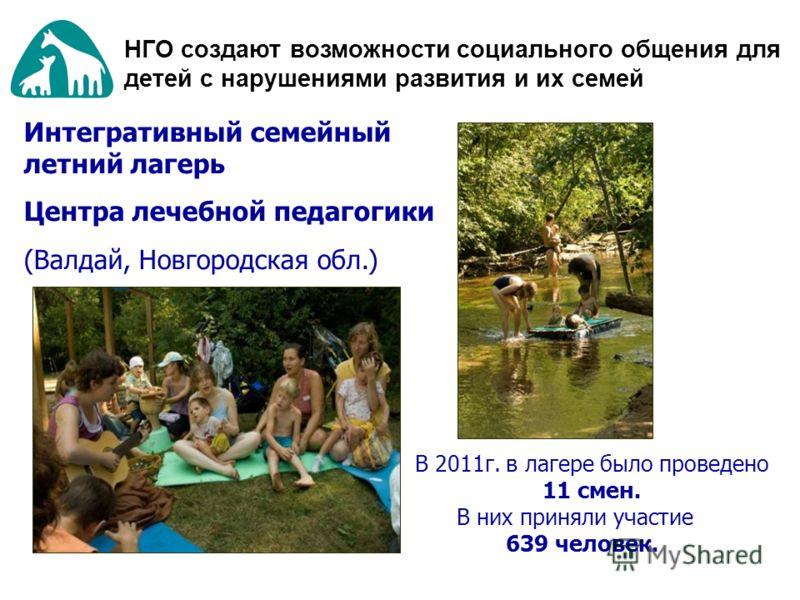 Интегративный семейный летний лагерь Центра лечебной педагогики (Валдай, Новгородская обл.) В 2011г. в лагере было проведено 11 смен. В них приняли участие 639 человек. НГО создают возможности социального общения для детей с нарушениями развития и их