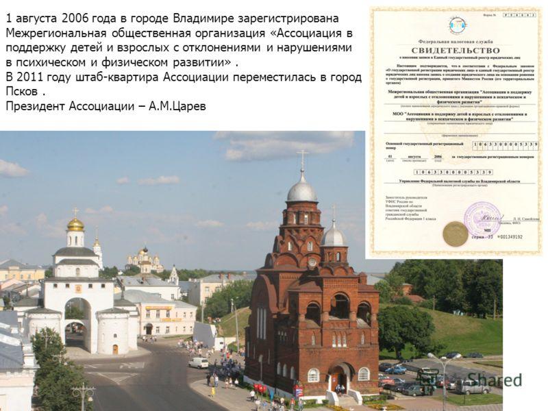 1 августа 2006 года в городе Владимире зарегистрирована Межрегиональная общественная организация «Ассоциация в поддержку детей и взрослых с отклонениями и нарушениями в психическом и физическом развитии». В 2011 году штаб-квартира Ассоциации перемест