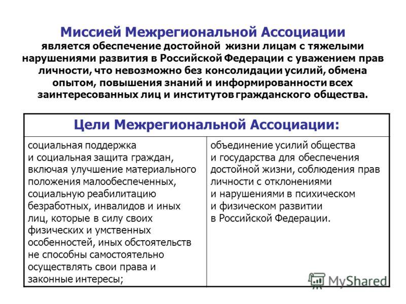 Миссией Межрегиональной Ассоциации является обеспечение достойной жизни лицам с тяжелыми нарушениями развития в Российской Федерации с уважением прав личности, что невозможно без консолидации усилий, обмена опытом, повышения знаний и информированност