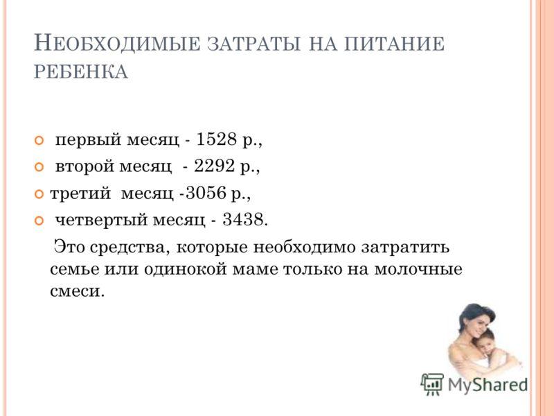 Н ЕОБХОДИМЫЕ ЗАТРАТЫ НА ПИТАНИЕ РЕБЕНКА первый месяц - 1528 р., второй месяц - 2292 р., третий месяц -3056 р., четвертый месяц - 3438. Это средства, которые необходимо затратить семье или одинокой маме только на молочные смеси.