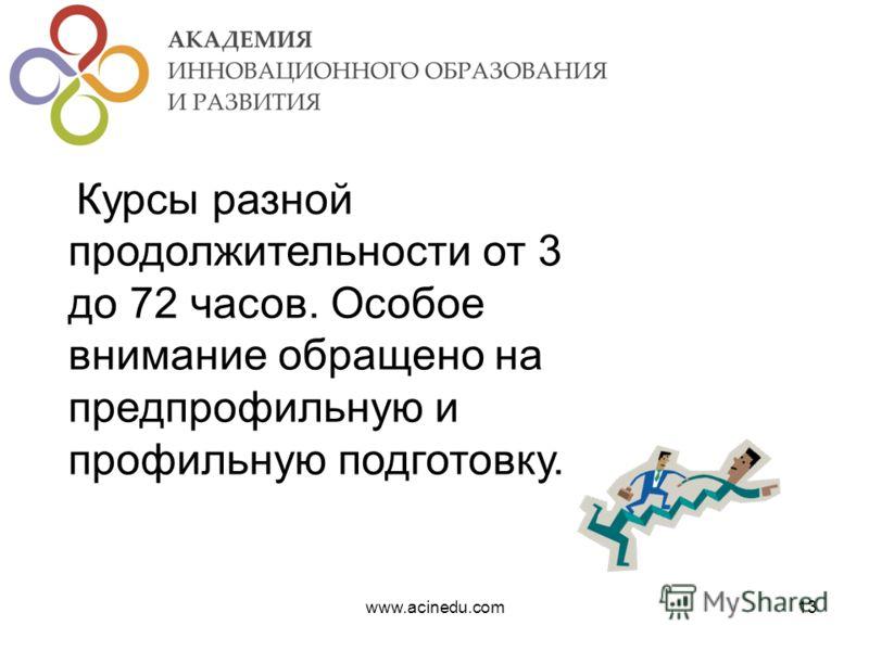 www.acinedu.com13 Курсы разной продолжительности от 3 до 72 часов. Особое внимание обращено на предпрофильную и профильную подготовку.