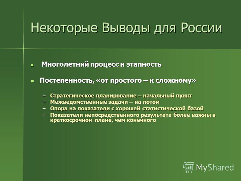 Некоторые Выводы для России Многолетний процесс и этапность Многолетний процесс и этапность Постепенность, «от простого – к сложному» Постепенность, «от простого – к сложному» –Стратегическое планирование – начальный пункт –Межведомственные задачи –