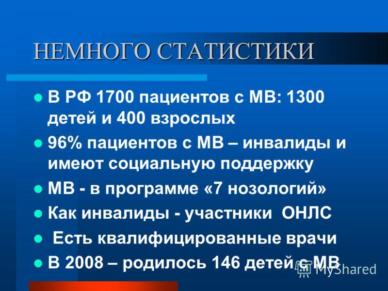 НЕМНОГО СТАТИСТИКИ В РФ 1700 пациентов с МВ: 1300 детей и 400 взрослых 96% пациентов с МВ – инвалиды и имеют социальную поддержку МВ - в программе «7 нозологий» Как инвалиды - участники ОНЛС Есть квалифицированные врачи В 2008 – родилось 146 детей с