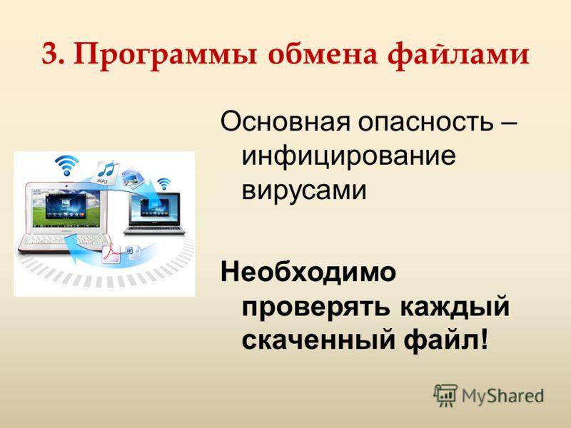 3. Программы обмена файлами Основная опасность – инфицирование вирусами Необходимо проверять каждый скаченный файл!