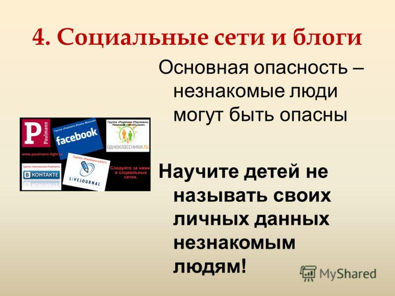 4. Социальные сети и блоги Основная опасность – незнакомые люди могут быть опасны Научите детей не называть своих личных данных незнакомым людям!