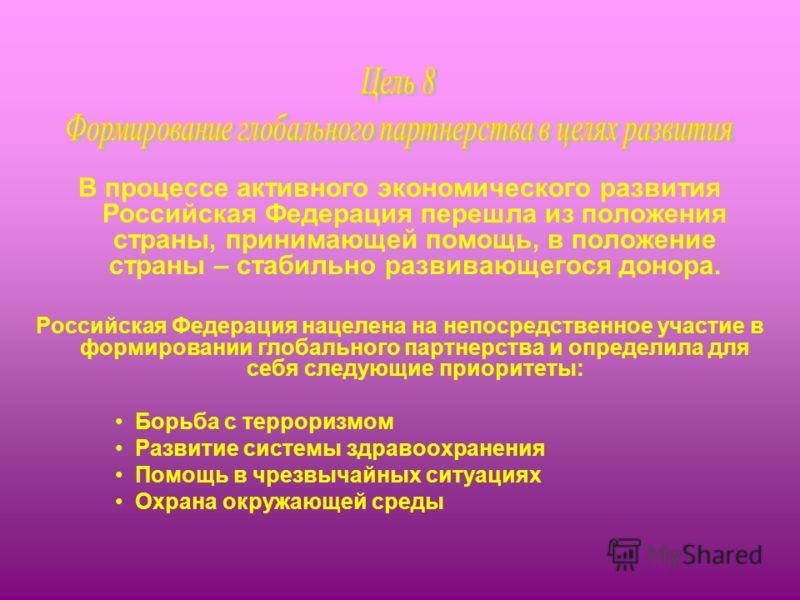В процессе активного экономического развития Российская Федерация перешла из положения страны, принимающей помощь, в положение страны – стабильно развивающегося донора. Российская Федерация нацелена на непосредственное участие в формировании глобальн
