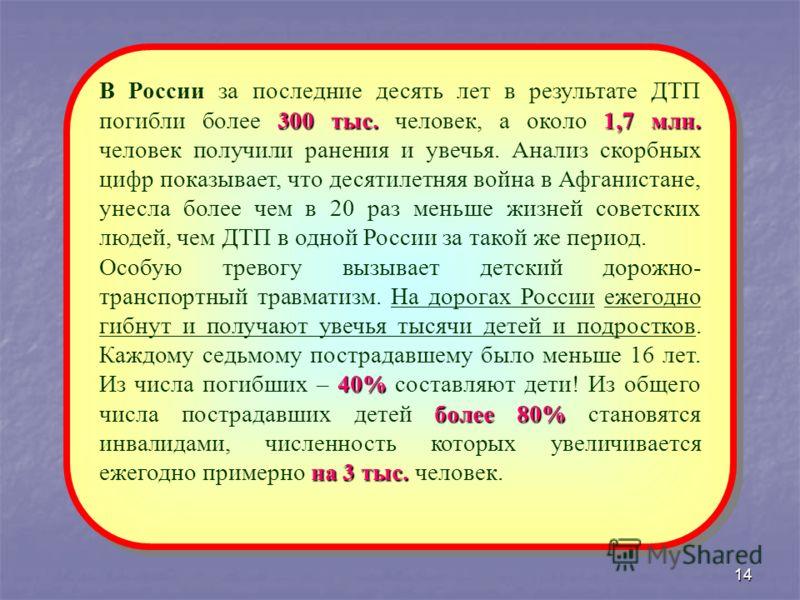 14 300 тыс.1,7 млн. В России за последние десять лет в результате ДТП погибли более 300 тыс. человек, а около 1,7 млн. человек получили ранения и увечья. Анализ скорбных цифр показывает, что десятилетняя война в Афганистане, унесла более чем в 20 раз