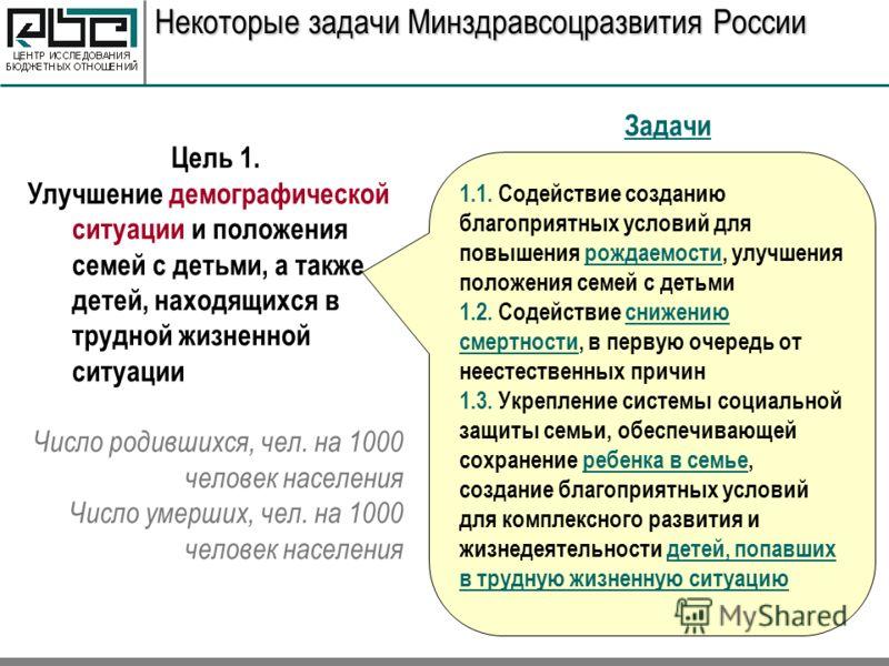Некоторые задачи Минздравсоцразвития России 1.1. Содействие созданию благоприятных условий для повышения рождаемости, улучшения положения семей с детьми 1.2. Содействие снижению смертности, в первую очередь от неестественных причин 1.3. Укрепление си