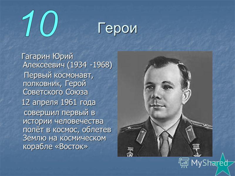 Герои Гагарин Юрий Алексеевич (1934 -1968) Гагарин Юрий Алексеевич (1934 -1968) Первый космонавт, полковник, Герой Советского Союза Первый космонавт, полковник, Герой Советского Союза 12 апреля 1961 года 12 апреля 1961 года совершил первый в истории
