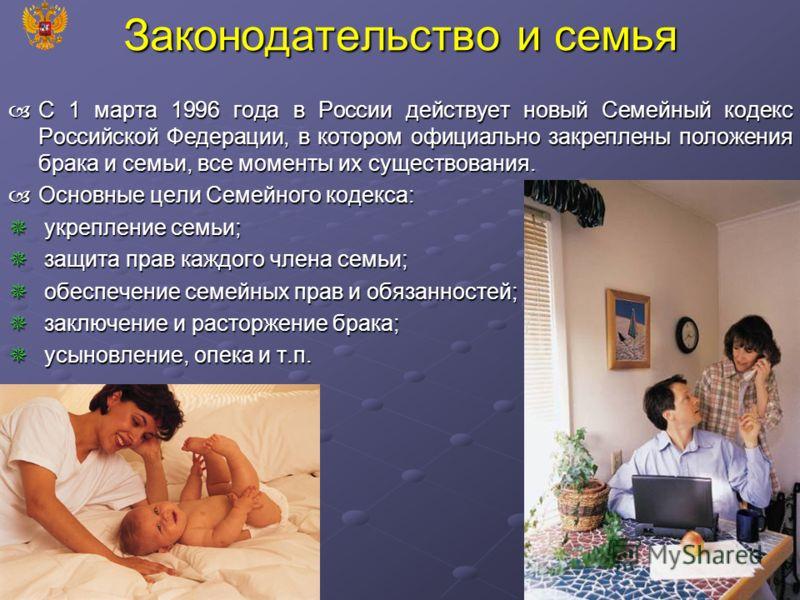 Законодательство и семья С 1 марта 1996 года в России действует новый Семейный кодекс Российской Федерации, в котором официально закреплены положения брака и семьи, все моменты их существования. С 1 марта 1996 года в России действует новый Семейный к