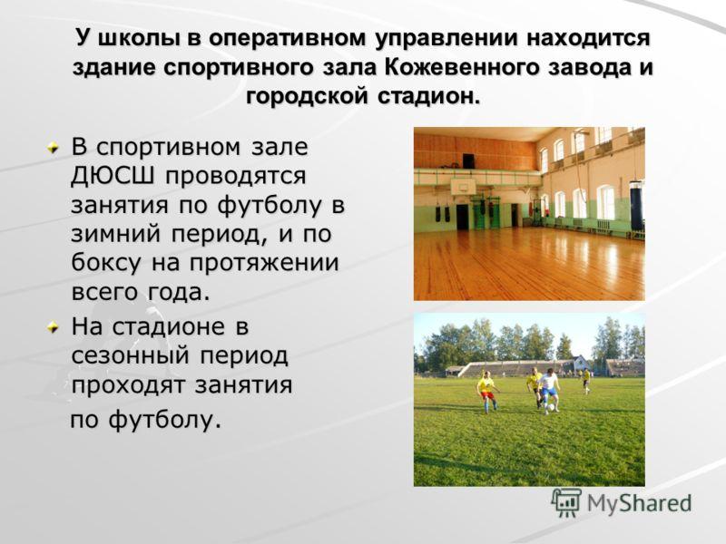 У школы в оперативном управлении находится здание спортивного зала Кожевенного завода и городской стадион. В спортивном зале ДЮСШ проводятся занятия по футболу в зимний период, и по боксу на протяжении всего года. На стадионе в сезонный период проход