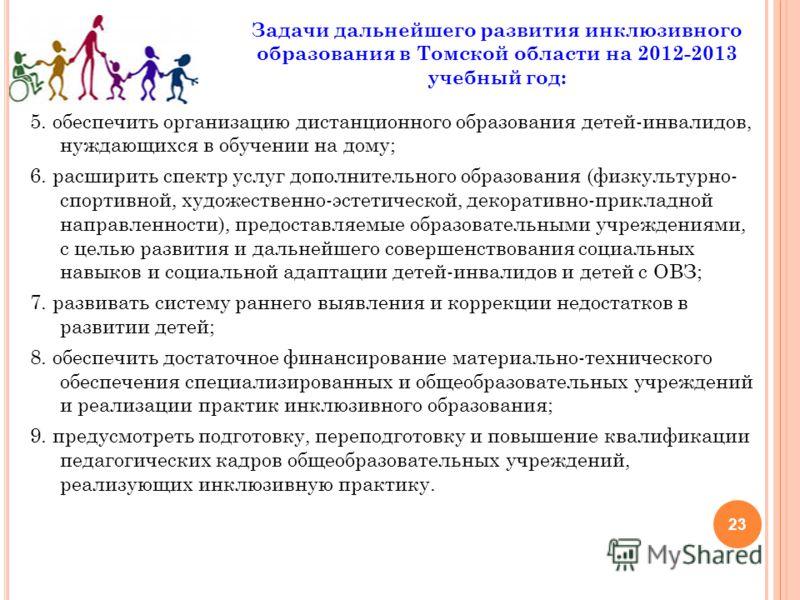 23 Задачи дальнейшего развития инклюзивного образования в Томской области на 2012-2013 учебный год: 5. обеспечить организацию дистанционного образования детей-инвалидов, нуждающихся в обучении на дому; 6. расширить спектр услуг дополнительного образо