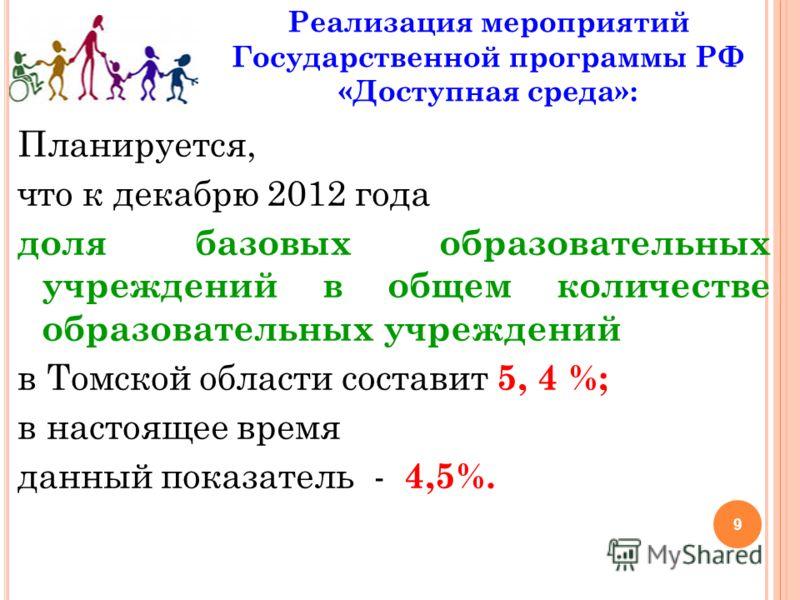9 Реализация мероприятий Государственной программы РФ «Доступная среда»: Планируется, что к декабрю 2012 года доля базовых образовательных учреждений в общем количестве образовательных учреждений в Томской области составит 5, 4 %; в настоящее время д