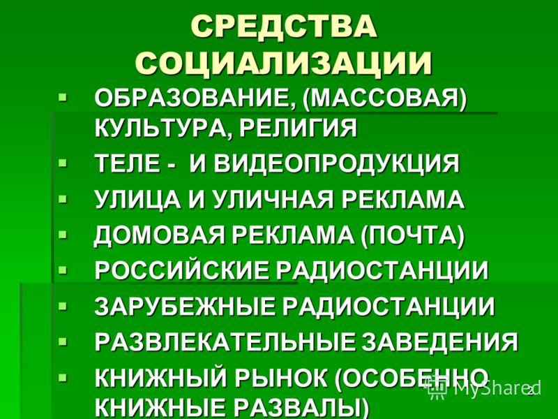 2 СРЕДСТВА СОЦИАЛИЗАЦИИ ОБРАЗОВАНИЕ, (МАССОВАЯ) КУЛЬТУРА, РЕЛИГИЯ ОБРАЗОВАНИЕ, (МАССОВАЯ) КУЛЬТУРА, РЕЛИГИЯ ТЕЛЕ - И ВИДЕОПРОДУКЦИЯ ТЕЛЕ - И ВИДЕОПРОДУКЦИЯ УЛИЦА И УЛИЧНАЯ РЕКЛАМА УЛИЦА И УЛИЧНАЯ РЕКЛАМА ДОМОВАЯ РЕКЛАМА (ПОЧТА) ДОМОВАЯ РЕКЛАМА (ПОЧТА