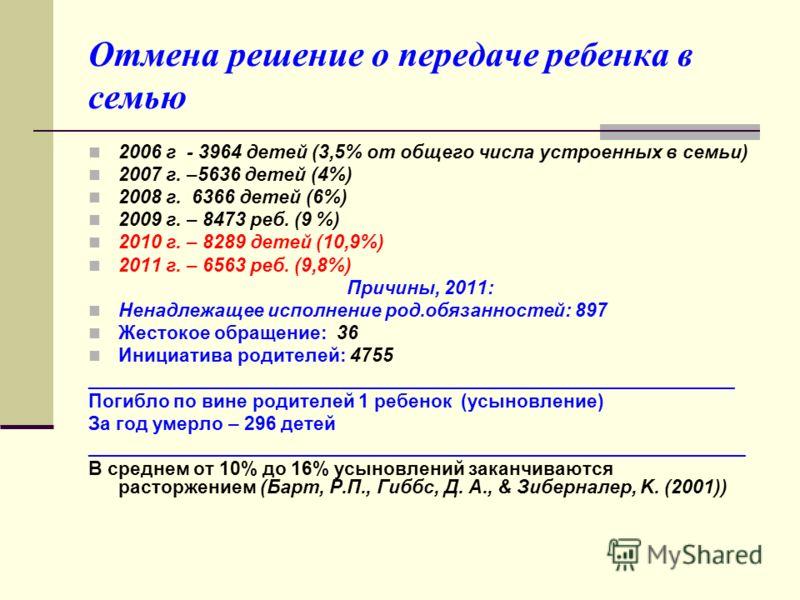 Отмена решение о передаче ребенка в семью 2006 г - 3964 детей (3,5% от общего числа устроенных в семьи) 2007 г. –5636 детей (4%) 2008 г. 6366 детей (6%) 2009 г. – 8473 реб. (9 %) 2010 г. – 8289 детей (10,9%) 2011 г. – 6563 реб. (9,8%) Причины, 2011:
