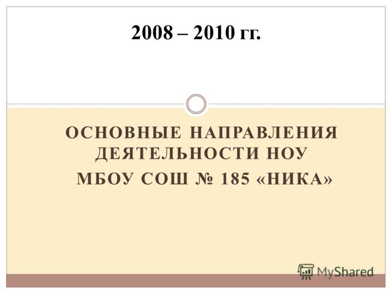 ОСНОВНЫЕ НАПРАВЛЕНИЯ ДЕЯТЕЛЬНОСТИ НОУ МБОУ СОШ 185 «НИКА» 2008 – 2010 гг.