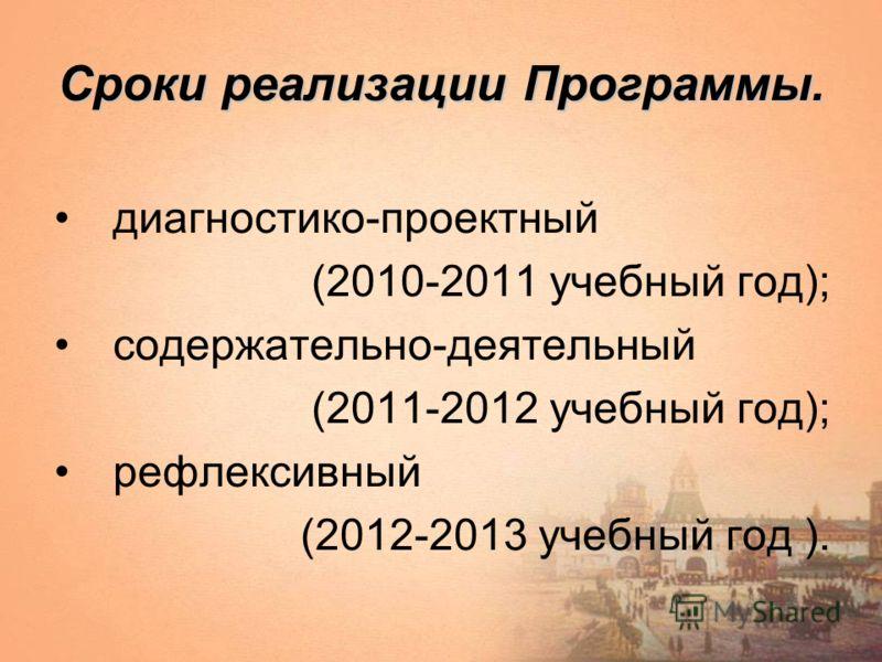 Сроки реализации Программы. диагностико-проектный (2010-2011 учебный год); содержательно-деятельный (2011-2012 учебный год); рефлексивный (2012-2013 учебный год ).