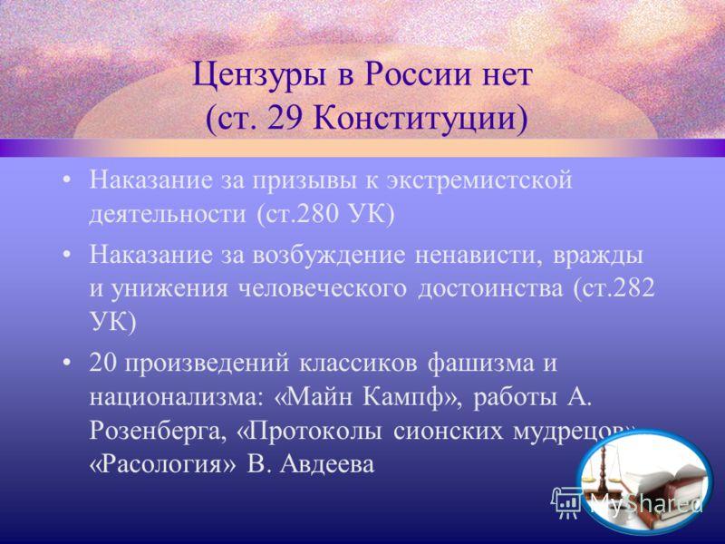 Цензуры в России нет (ст. 29 Конституции) Наказание за призывы к экстремистской деятельности (ст.280 УК) Наказание за возбуждение ненависти, вражды и унижения человеческого достоинства (ст.282 УК) 20 произведений классиков фашизма и национализма: «Ма
