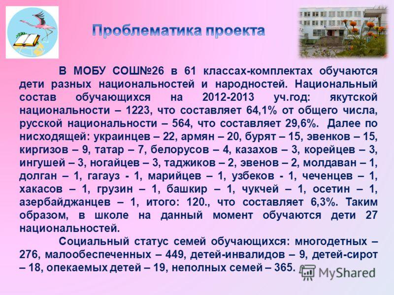 В МОБУ СОШ26 в 61 классах-комплектах обучаются дети разных национальностей и народностей. Национальный состав обучающихся на 2012-2013 уч.год: якутской национальности – 1223, что составляет 64,1% от общего числа, русской национальности – 564, что сос
