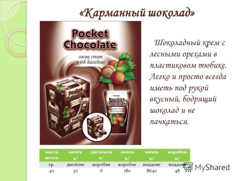 «Карманный шоколад» Шоколадный крем с лесными орехами в пластиковом тюбике. Легко и просто всегда иметь под рукой вкусный, бодрящий шоколад и не пачкаться. масса нетто пачек в/ дисплеев в/ пачек в/ пачек в/ коробок в/ гр.дисплеекоробке поддоне 403061