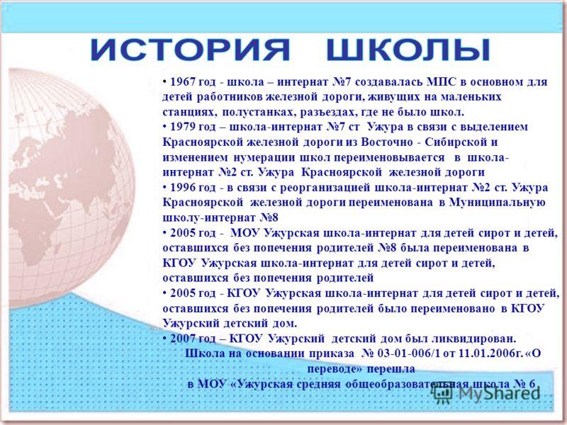 1967 год - школа – интернат 7 создавалась МПС в основном для детей работников железной дороги, живущих на маленьких станциях, полустанках, разъездах, где не было школ. 1979 год – школа-интернат 7 ст Ужура в связи с выделением Красноярской железной до