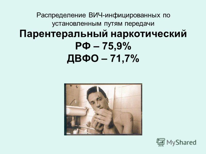 Распределение ВИЧ-инфицированных по установленным путям передачи Парентеральный наркотический РФ – 75,9% ДВФО – 71,7%