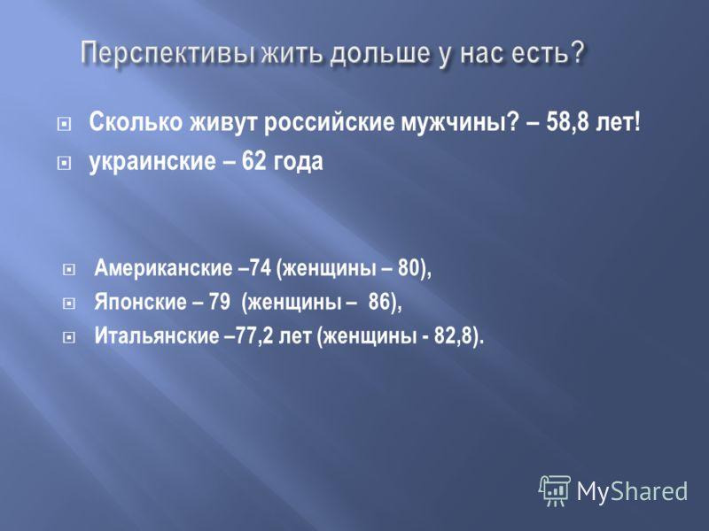 Сколько живут российские мужчины? – 58,8 лет! украинские – 62 года Американские –74 (женщины – 80), Японские – 79 (женщины – 86), Итальянские –77,2 лет (женщины - 82,8).