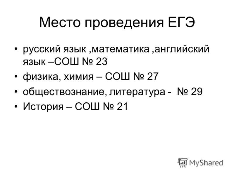 Место проведения ЕГЭ русский язык,математика,английский язык –СОШ 23 физика, химия – СОШ 27 обществознание, литература - 29 История – СОШ 21