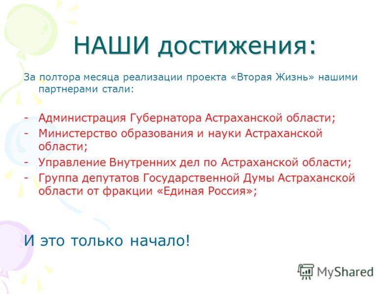 НАШИ достижения: За полтора месяца реализации проекта «Вторая Жизнь» нашими партнерами стали: -Администрация Губернатора Астраханской области; -Министерство образования и науки Астраханской области; -Управление Внутренних дел по Астраханской области;