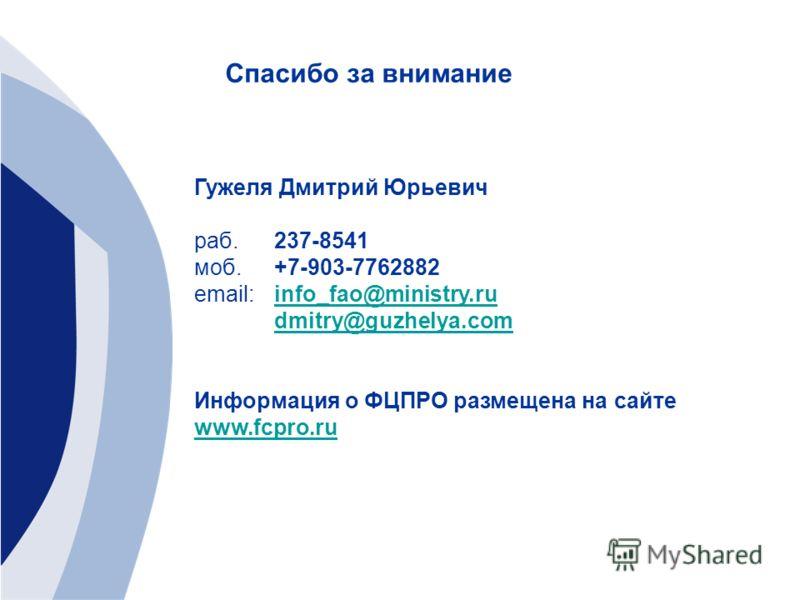 Спасибо за внимание Гужеля Дмитрий Юрьевич раб.237-8541 моб. +7-903-7762882 email: info_fao@ministry.ruinfo_fao@ministry.ru dmitry@guzhelya.com Информация о ФЦПРО размещена на сайте www.fcpro.ru