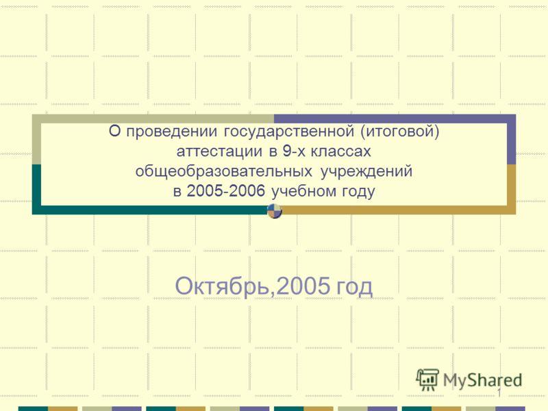 1 О проведении государственной (итоговой) аттестации в 9-х классах общеобразовательных учреждений в 2005-2006 учебном году Октябрь,2005 год