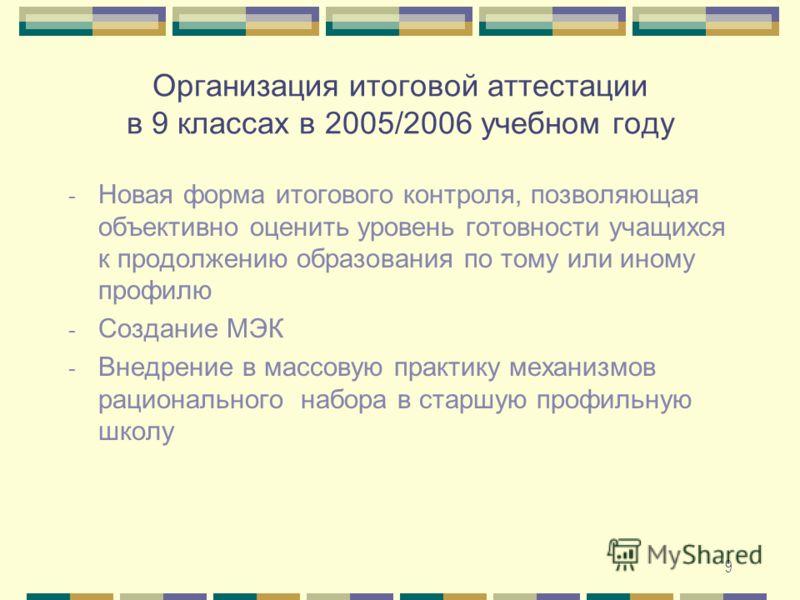 9 Организация итоговой аттестации в 9 классах в 2005/2006 учебном году - Новая форма итогового контроля, позволяющая объективно оценить уровень готовности учащихся к продолжению образования по тому или иному профилю - Создание МЭК - Внедрение в массо
