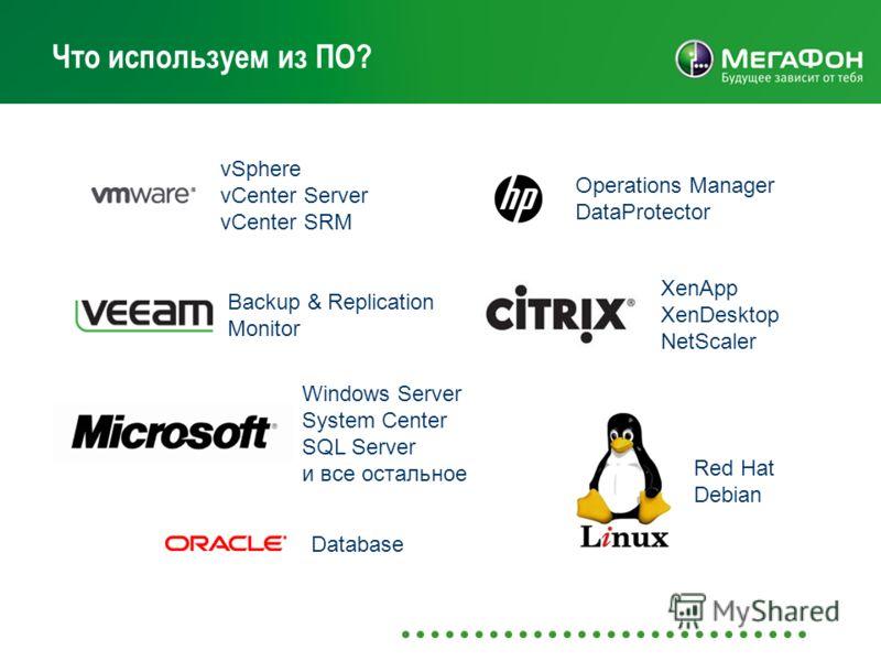 Что используем из ПО? vSphere vCenter Server vCenter SRM Operations Manager DataProtector Backup & Replication Monitor Windows Server System Center SQL Server и все остальное Red Hat Debian Database XenApp XenDesktop NetScaler