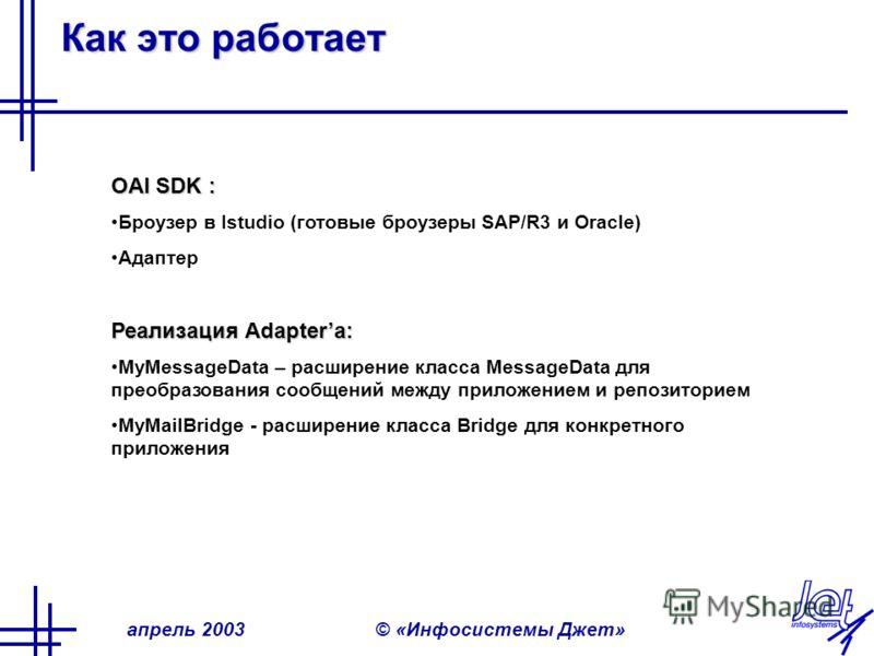 апрель 2003© «Инфосистемы Джет» Как это работает OAI SDK : Броузер в Istudio (готовые броузеры SAP/R3 и Oracle) Адаптер Реализация Adapterа: MyMessageData – расширение класса MessageData для преобразования сообщений между приложением и репозиторием M