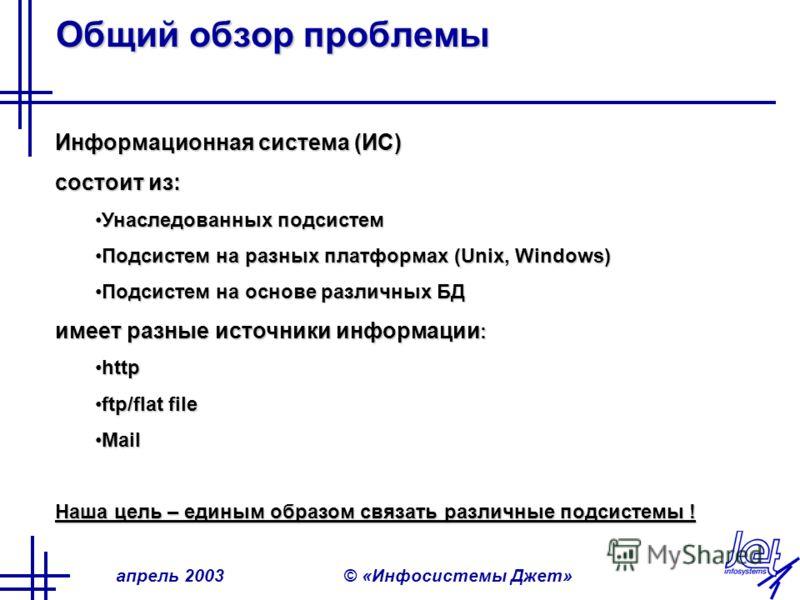 апрель 2003© «Инфосистемы Джет» Общий обзор проблемы Информационная система (ИС) состоит из: Унаследованных подсистемУнаследованных подсистем Подсистем на разных платформах (Unix, Windows)Подсистем на разных платформах (Unix, Windows) Подсистем на ос