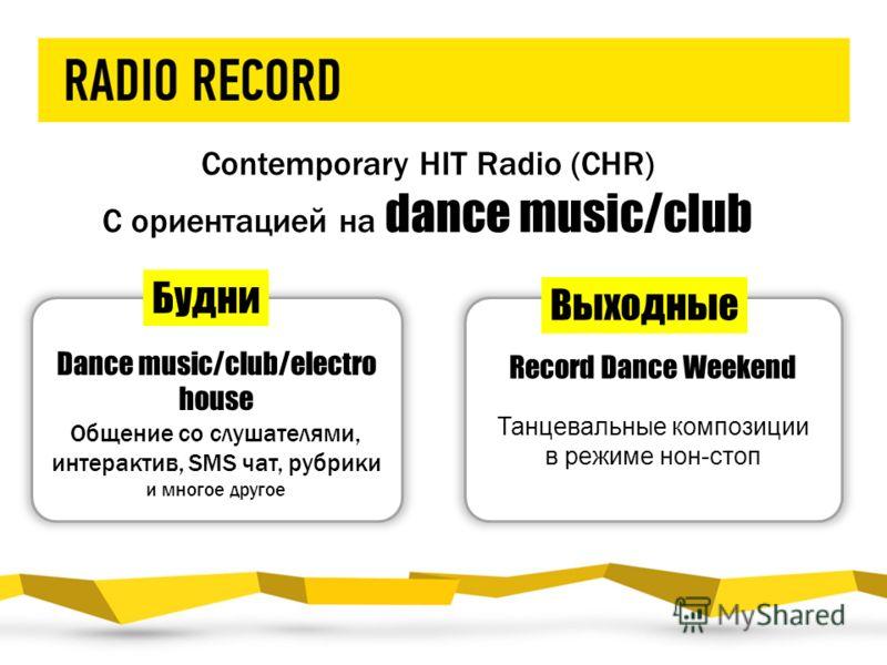 Contemporary HIT Radio (CHR) С ориентацией на dance music/club Dance music/club/electro house Общение со слушателями, интерактив, SMS чат, рубрики и многое другое Record Dance Weekend Танцевальные композиции в режиме нон-стоп Будни Выходные