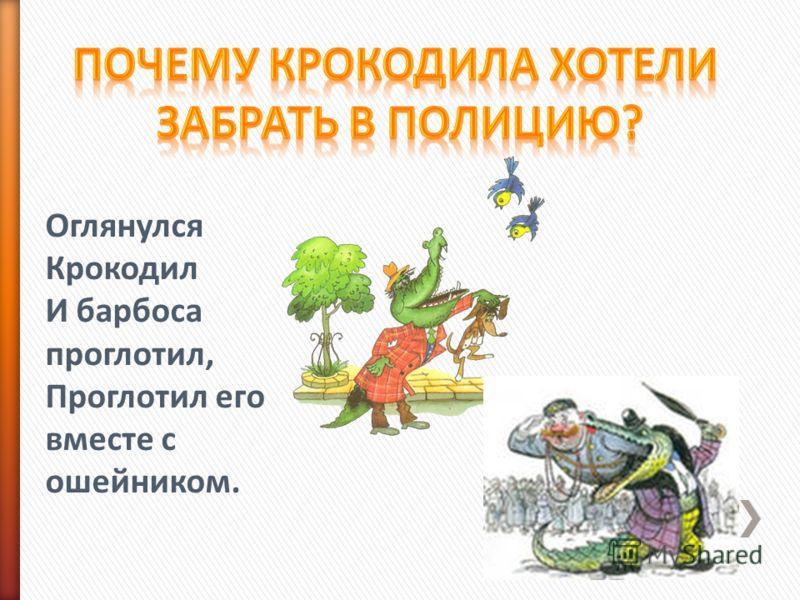 Оглянулся Крокодил И барбоса проглотил, Проглотил его вместе с ошейником.