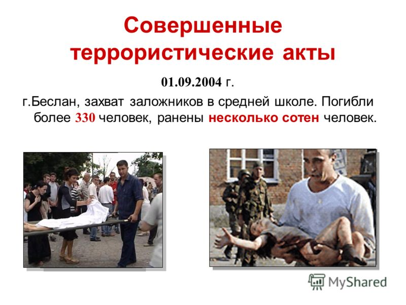 Совершенные террористические акты 01.09.2004 г. г.Беслан, захват заложников в средней школе. Погибли более 330 человек, ранены несколько сотен человек.