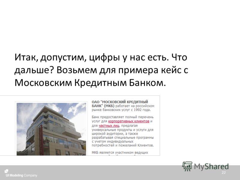 Итак, допустим, цифры у нас есть. Что дальше? Возьмем для примера кейс с Московским Кредитным Банком. 22