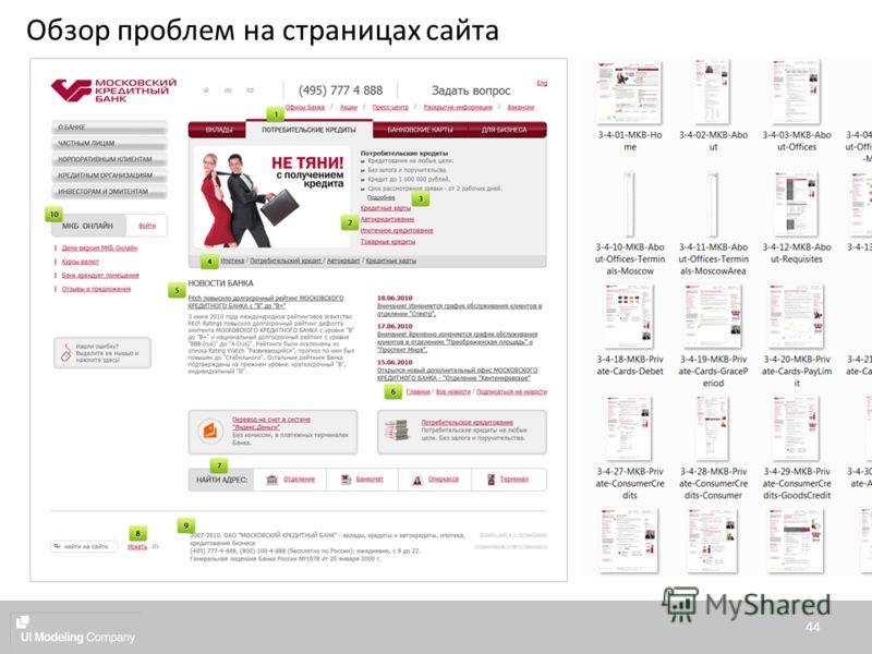 44 Обзор проблем на страницах сайта