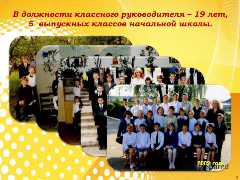 В должности классного руководителя – 19 лет, 5 выпускных классов начальной школы. 1995 год1997 год 2001 год 2005 год 2009 год 3