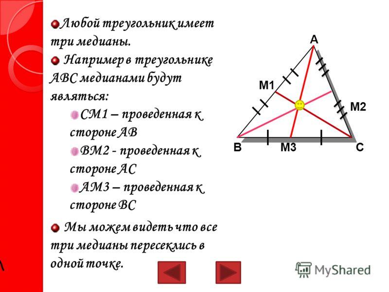 Любой треугольник имеет три медианы. Например в треугольнике АВС медианами будут являться: СМ1 – проведенная к стороне АВ ВМ2 - проведенная к стороне АС АМ3 – проведенная к стороне ВС Мы можем видеть что все три медианы пересеклись в одной точке. ВМ3