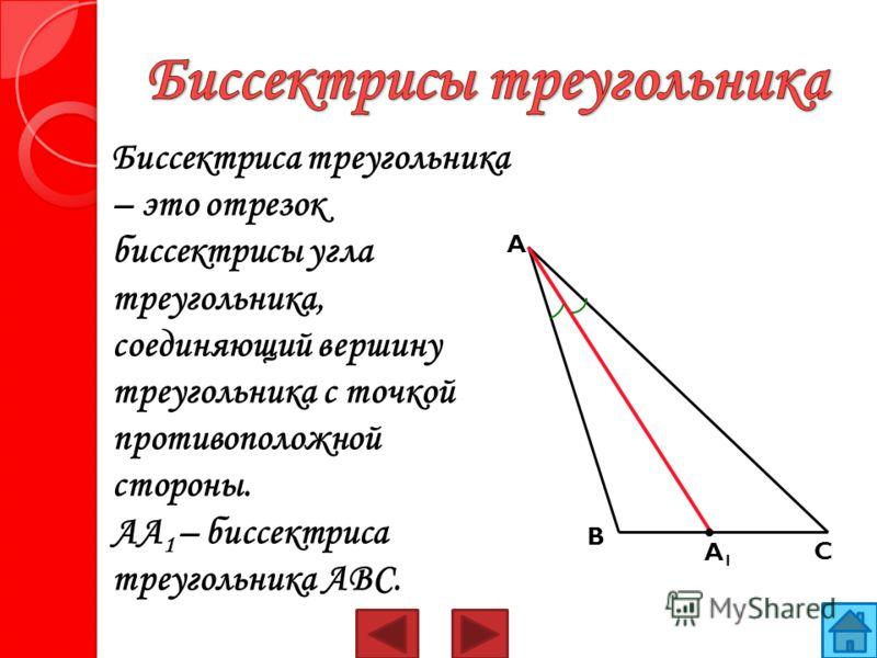 Биссектриса треугольника – это отрезок биссектрисы угла треугольника, соединяющий вершину треугольника с точкой противоположной стороны. AA 1 – биссектриса треугольника ABC. A1A1 B C A