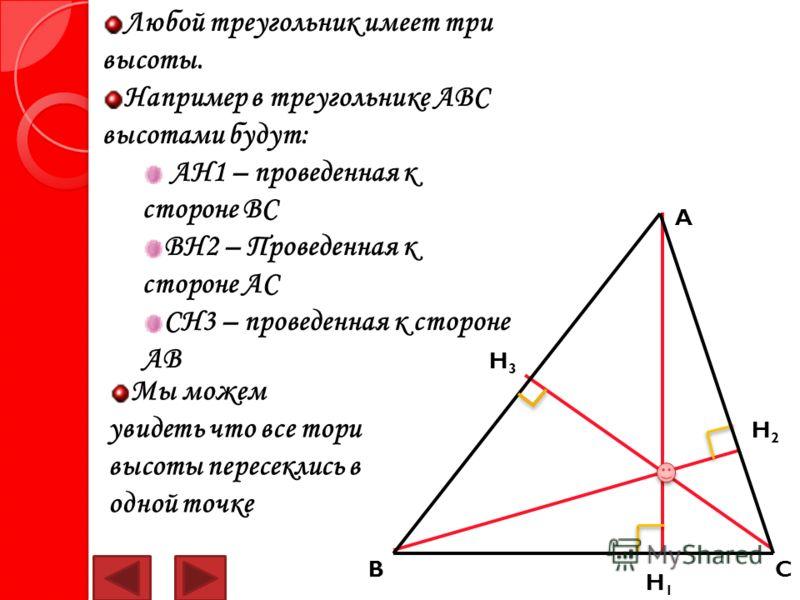 Любой треугольник имеет три высоты. Например в треугольнике АВС высотами будут: АН1 – проведенная к стороне ВС ВН2 – Проведенная к стороне АС СН3 – проведенная к стороне АВ H3H3 H1H1 H2H2 Мы можем увидеть что все тори высоты пересеклись в одной точке