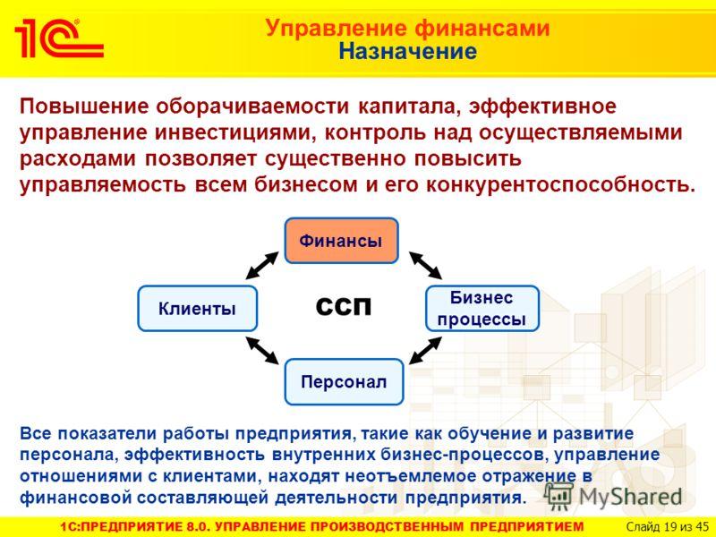 1C:ПРЕДПРИЯТИЕ 8.0. УПРАВЛЕНИЕ ПРОИЗВОДСТВЕННЫМ ПРЕДПРИЯТИЕМ Слайд 19 из 45 Повышение оборачиваемости капитала, эффективное управление инвестициями, контроль над осуществляемыми расходами позволяет существенно повысить управляемость всем бизнесом и е
